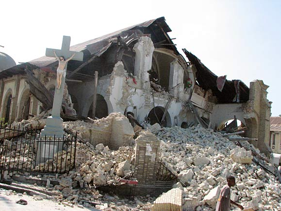 Church destroyed by earthquake
